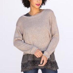 Agnes & Dora Stone Slub Knit Pullover